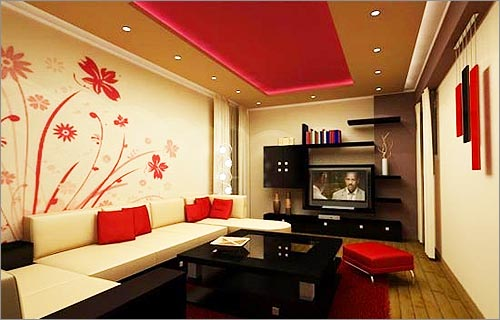 Living Room Interior Designs With Wall Painting