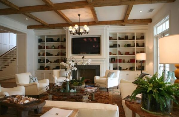 Natural living room brown green leather france daily interior ...