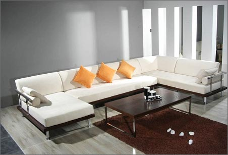 Modern Wooden Living Sofa Set